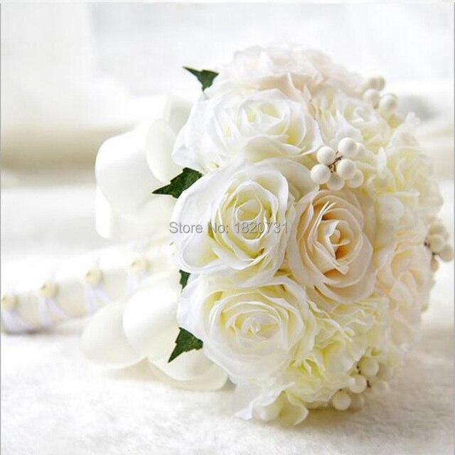 Handmade Top Quality Beaded Brooch Silk Bride Bridal Wedding Bouquet Bridesmaid Europe Us Ivory Artificial Flower Accept Custom