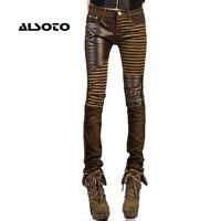 Alta qualidade calças de couro PU para as mulheres 2017 moda Casual calças pés calças lápis de jeans para mulher tamanho grande preto