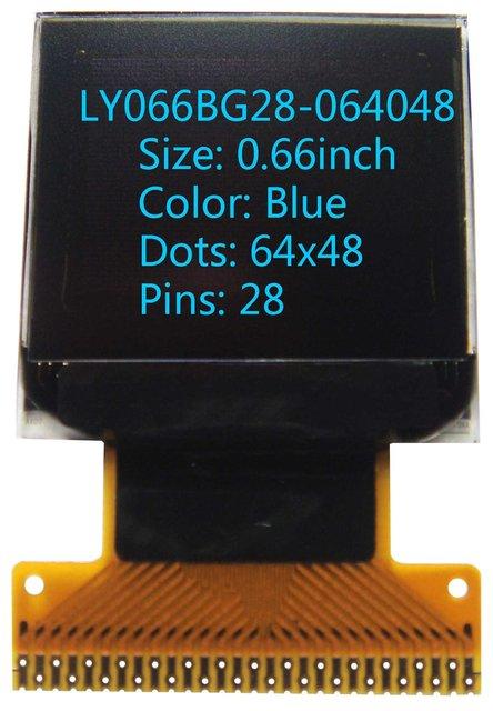0.66 inch 64x48 Blue  screen oled  display