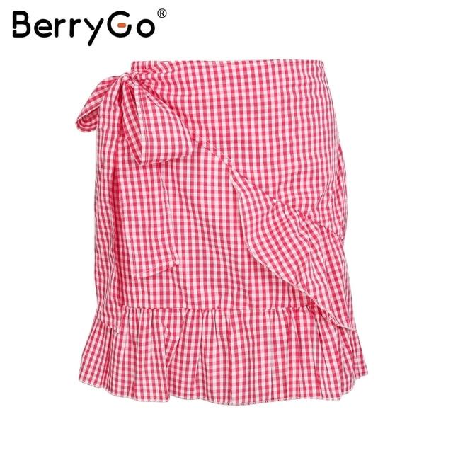 9d4a58b214 BerryGo Ruffle boho chic wrap skirt women Floral print female mini skirt  plaid Mermaid casual high waist short skirt summer 2018