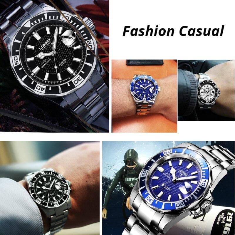 200 м водонепроницаемые автоматические часы для мужчин люксовый бренд LOREO полностью стальные механические часы сапфировый календарь светящиеся часы для мужчин L9202 - 5