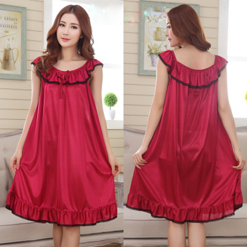 9 Candy Color Loose Solid Satin Long Nightgowns Sleepwear For Women Summer Sleeveless Sexy Lingerie Plus
