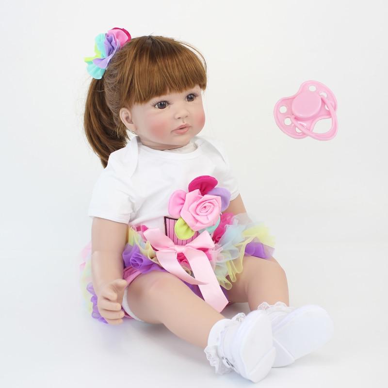 60 см Силиконовые Reborn Baby Doll игрушечные лошадки как настоящее винил принцесса малышей куклы обувь для девочек Bonecas подарок на День Рожде