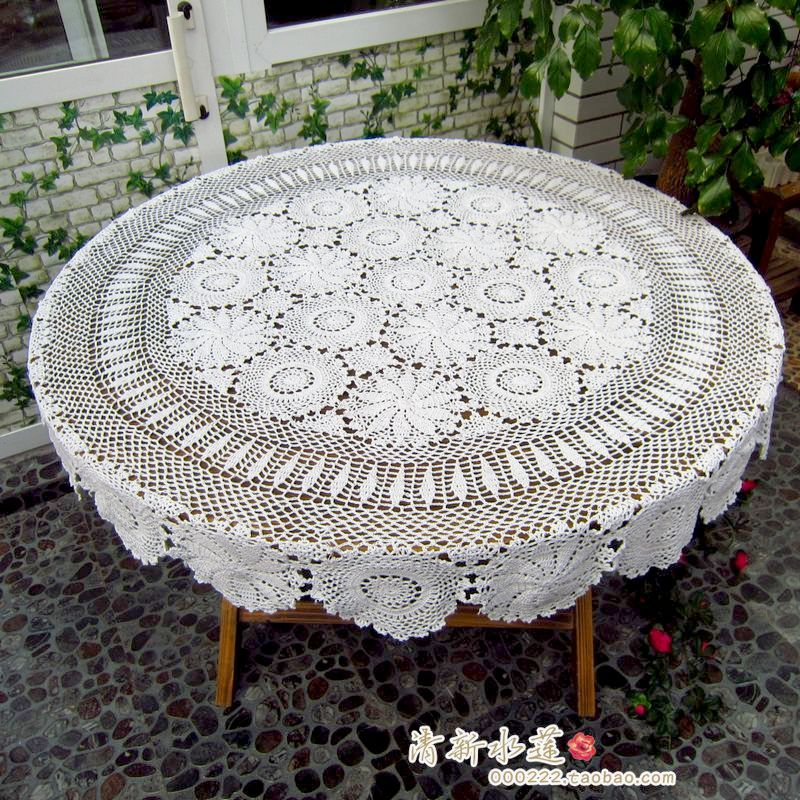 Janpnese Design Handmade Crochet Dining Lace Table Cloth 100 Cotton