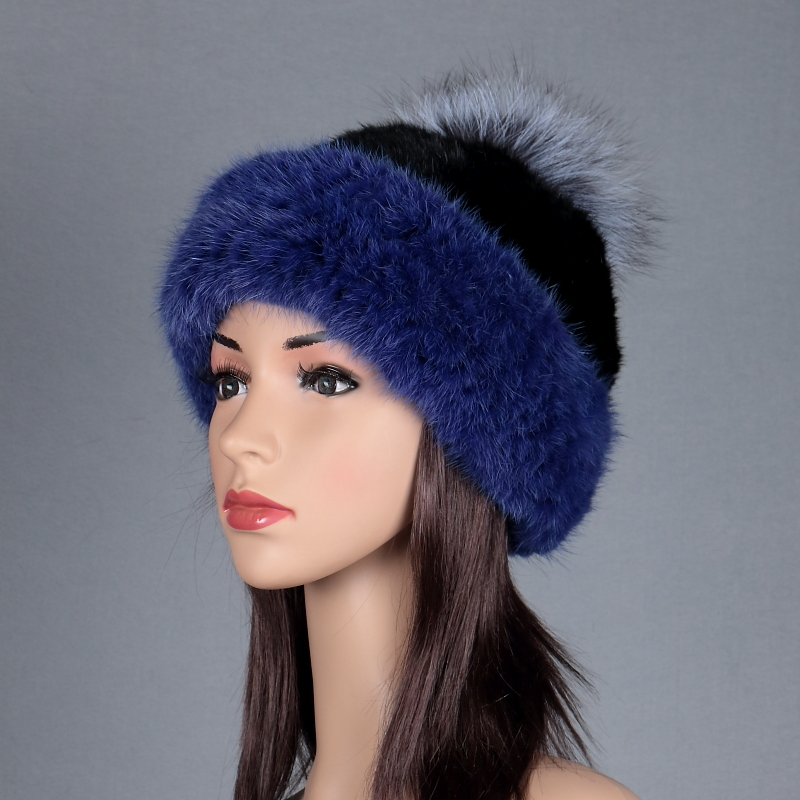Russian Women Mink Fur Hat Autumn Winter Wram Handmade Knitted Hat with Fox Ball Mink Warm Thick Knit Fur Cap free shipping H#75