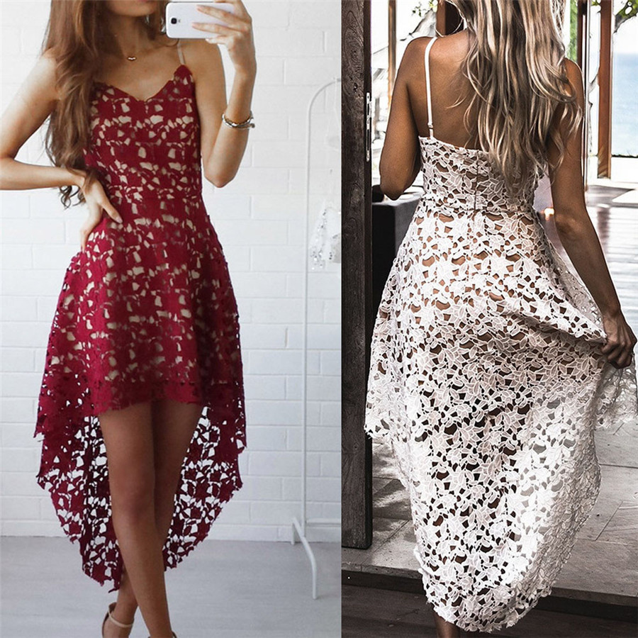 Sexy Hollow Out Floral Lace SleeveLess V-Neck Cocktail Formal Swing Irregular Dress Refinement Dresses For Female Women #25