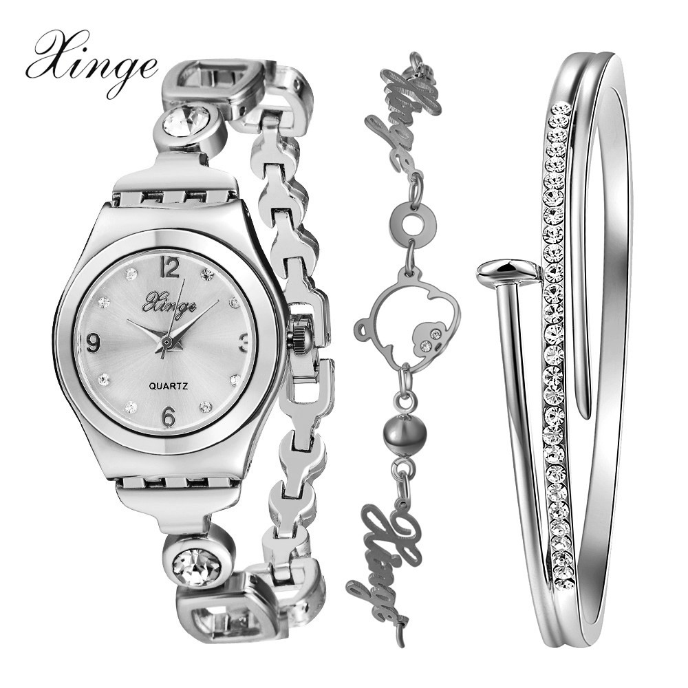 Xinge Brand Watch Women Bracelet Letters Rhinestone Bangles Jewelry Watch Set Wristwatch Luxury Crystal Quartz Watches xinge brand watch women bracelet rhinestone chain bangles jewelry watch set wristwatch waterproof ladies gold quartz watch