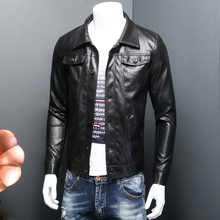 ARGY Fashion Men's PU Leather Jackets Turn-down Collar Faux Leather Pockets Buttons Deco Jacket Jaqueta De Couro Masculina 5385