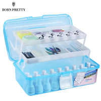 3 Layers Plastic Portable Nail Decoration Container Empty Box Brush Holder Manicure Nail Art Tool Organizer