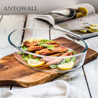 ANTOWALL Household glass tableware oval tempered glass risotto dish fruit plate dish baking Pan for microwave oven