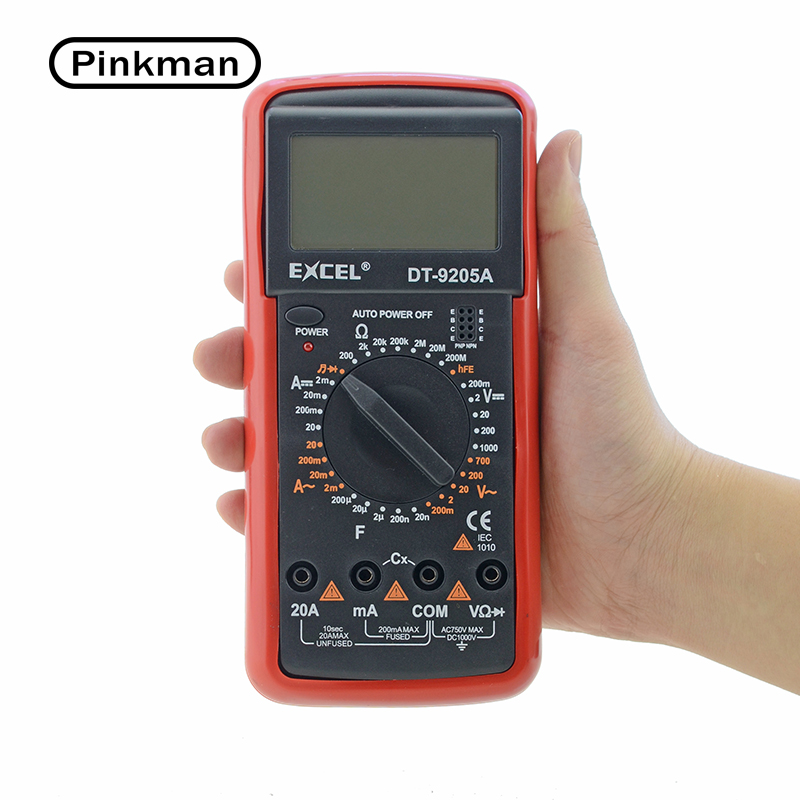 DT9205A AC DC Display LCD Handheld Elétrica Tester Medidor de Multímetro Digital Amperímetro Multimetro