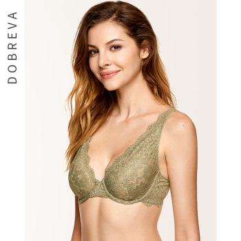 DOBREVA Women's Unlined Plunge Bralette Sexy Underwear Lingerie For Women Lace Underwire Bra 2