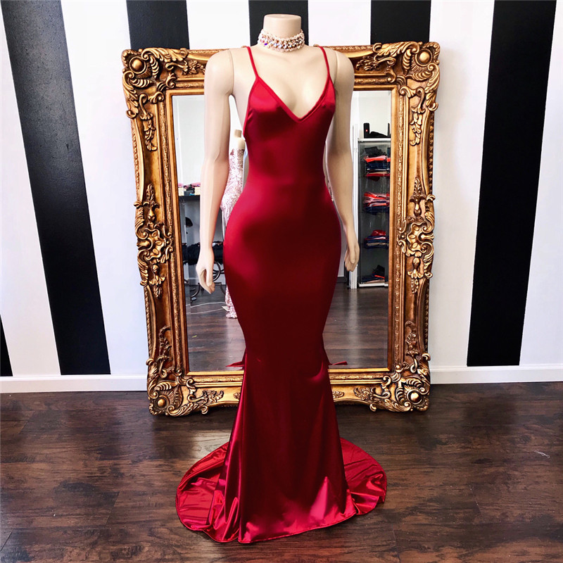 African Long Backless Prom Dresses 2019 Sexy Mermaid Halter Neck Red Evening Party Gowns Formal Sweep Train Abiye Gece Elbisesi