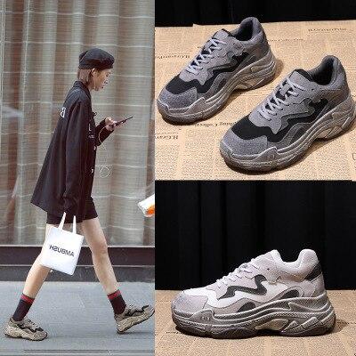 De single plus 2018 Casual Femelle Velvet Nouvelle Augmenter Rétro Shoes Hiver Sport Plus Mat Shoes Sauvage Vieux Harajuku Chaussures single Velours Velvet RUUw4qYf