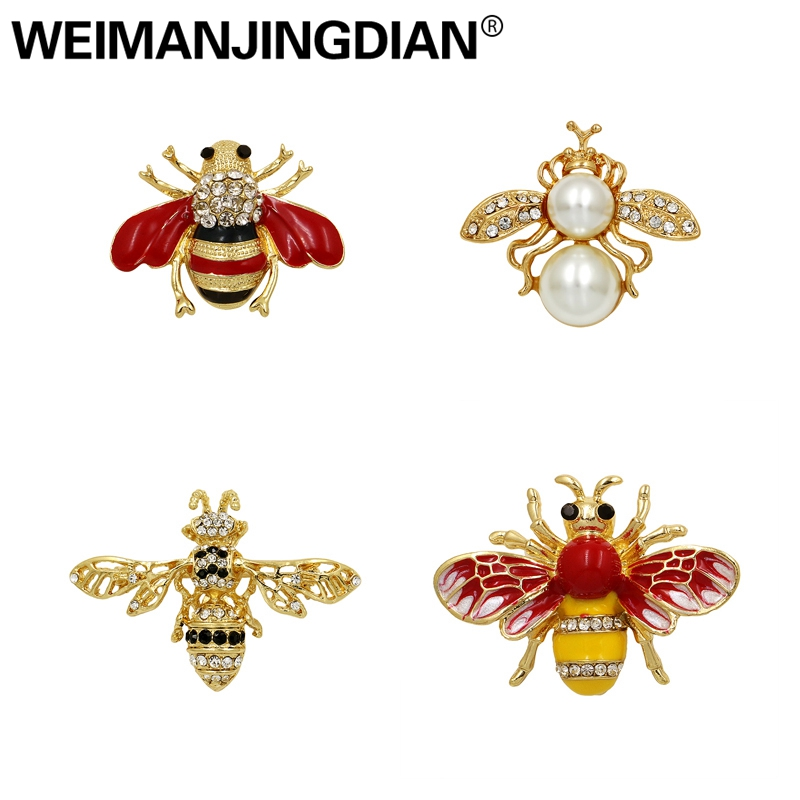 WEIMANJINGDIAN Enamel Bee Brooches Unisex Insect Brooch Pin Women and Men Jewelry Cute Small Badges Fashion Jewelry