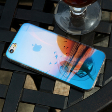 iPhone  8 7 6 Case Coque Blue Ray Light Clear Transparent Cover Mobile Phone Case Capa Fundas