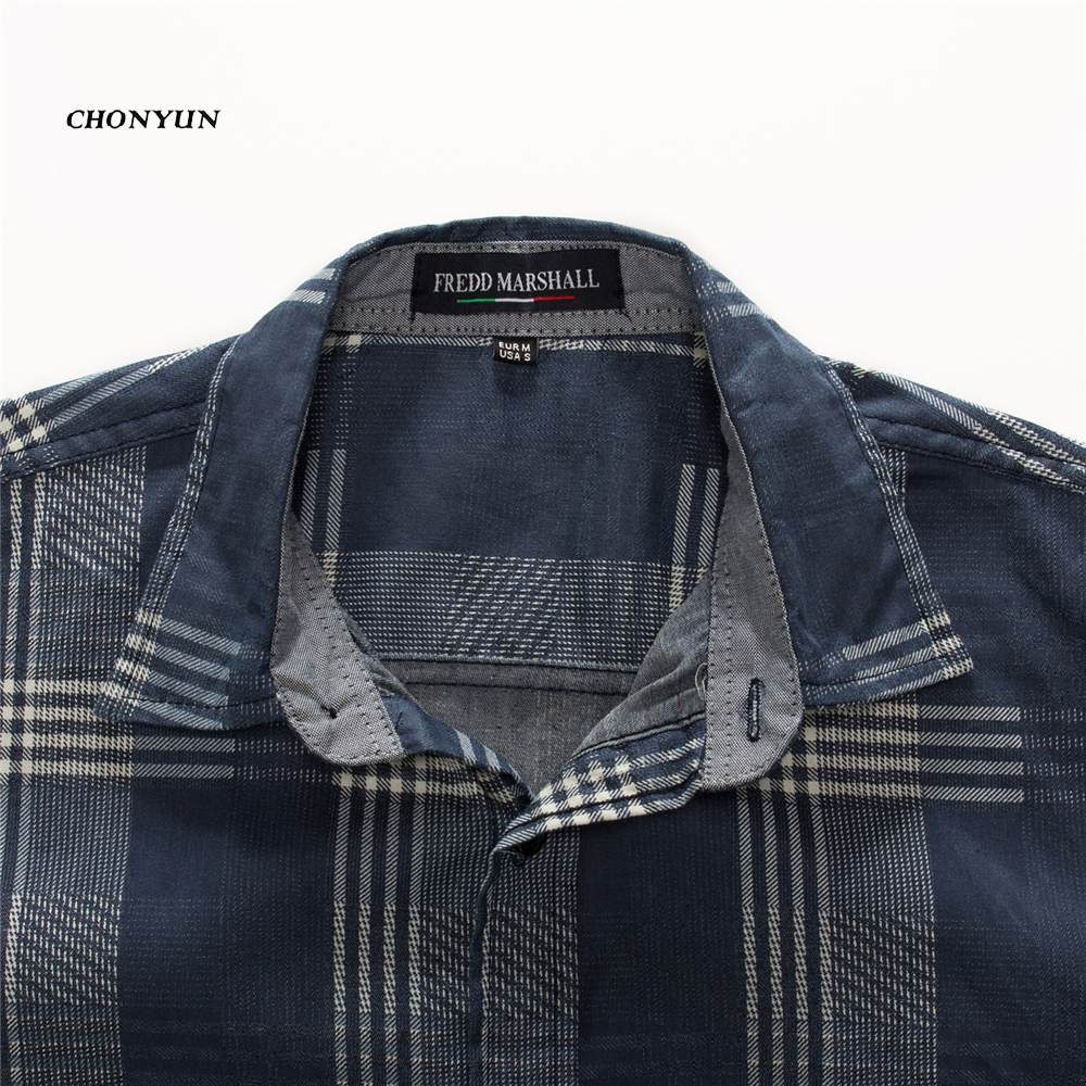 2020 Brand New Men's Casual Shirt Denim Long Sleeve Slim Fit Striped Shirts Business Camisa Breathable Dress Shirt Men Clothing 3