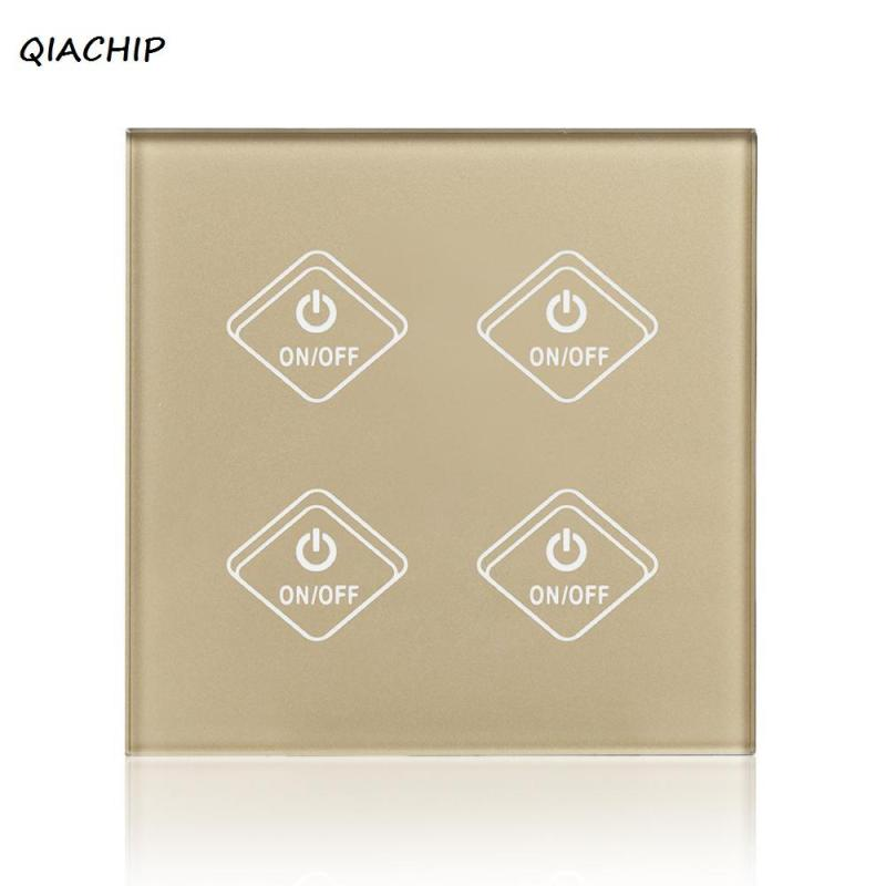 QIACHIP UK Plug 4 Gang 4 Way WiFi Smart Switch Glass Panel Touch LED Lights Switch for Smart Home Wireless Remote wall Switch H3 smart home gold light wall touch switch ac220v crystal glass panel uk standard 1 gang 2 way led touch switch power touch led