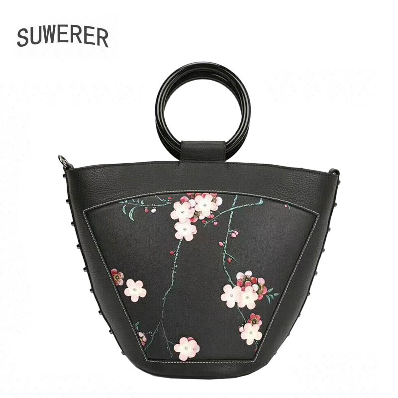 SUWERER 2019 New women genuine leather bags flowers women bag fashion famous brand designer fashion women handbagsSUWERER 2019 New women genuine leather bags flowers women bag fashion famous brand designer fashion women handbags