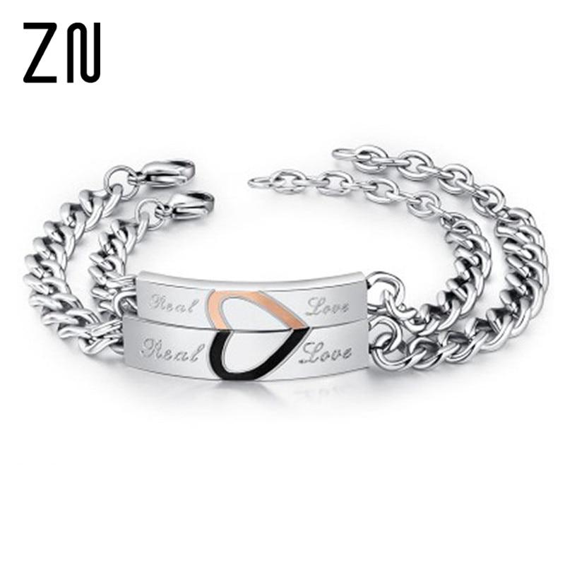 fa22832f9634d US $2.39 25% OFF ZN 1pc Love Couple Bracelets Stainless Steel Jewelry  Charms Lovers Half Heart Puzzle Bracelet Wedding Jewellery For Men Women-in  ...