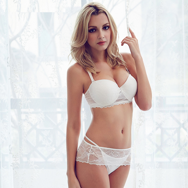 cf3d1bbdf sexy white lingerie set lace bra set perfect shape half cup bra Under Wired  Balcony bras for Wedding Dress women underwear