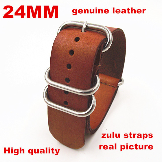 42ed785ec44 zulu straps Wholesale 10PCS lots High quality 24MM Nato strap genuine  leather Watch band NATO straps watch strap 110104-in Watchbands from Watches  on ...