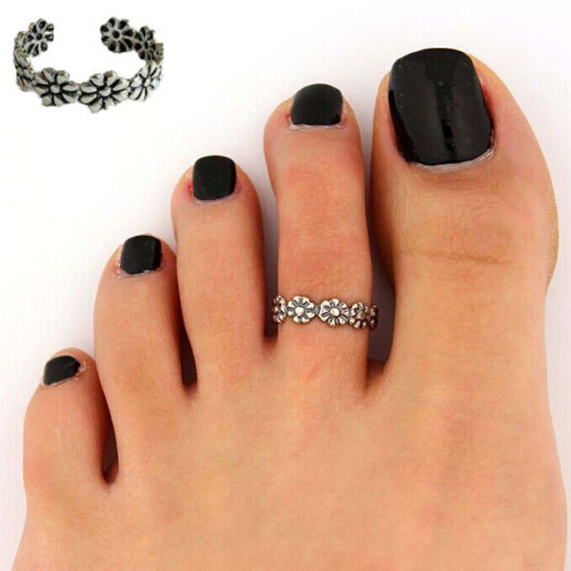 Brand-new Carved Flower Adjustable Opening Toe Ring Women Girls Ancient  AM77