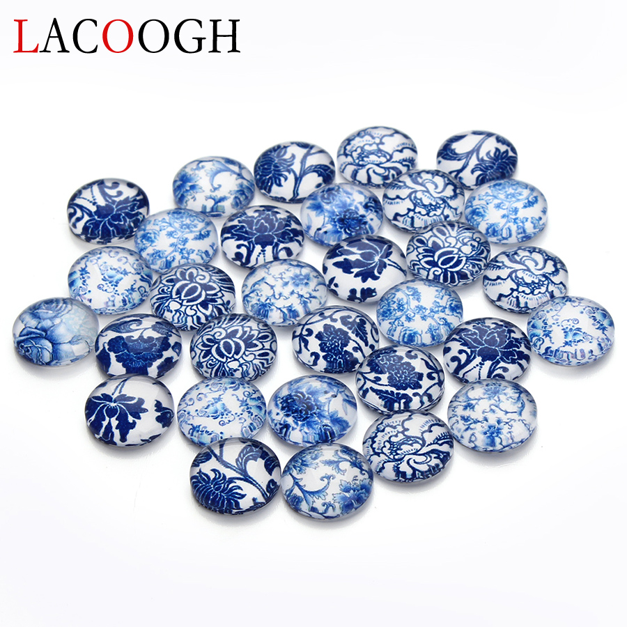 30pcs//lot 12mm Mixed Blue and white porcelain Handmade Photo Glass Cabochons