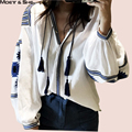 Moet &She  New Bohemian Blouse Shirt Lantern Sleeve Embroidered Tassel  Bandage Tops Loose Women Clothes Garment  T67323R
