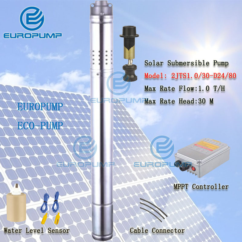 EUROPUMP MODEL(2EPS1.0/30-D24/80) 2 inch 80w helical solar powered water pump system for agriculture irrigation