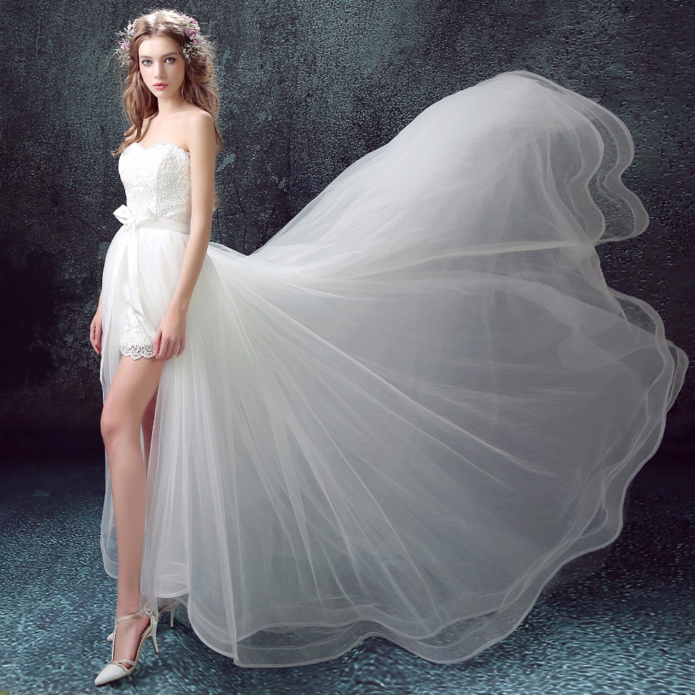 Beautiful Short Wedding Dress For Summer Wedding Holiday Shooting Strapless Detachable Train Wedding Gowns Beauty Emilly Robe De Mariee Weddings & Events