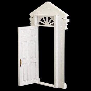 мода 112 винтажный кукольный домик миниатюрный орнамент украшение морден белая деревянная дверь 6 панель с рамкой белый