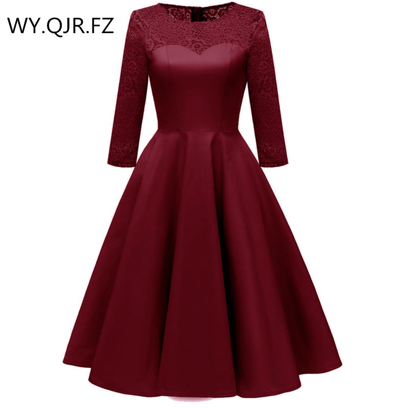 PTH8011J#satin-like Cotton Fabric + Lace Wine Red Short Bridesmaid Dresses Bride Wedding Toast Party Dress Gown Prom Wholesale