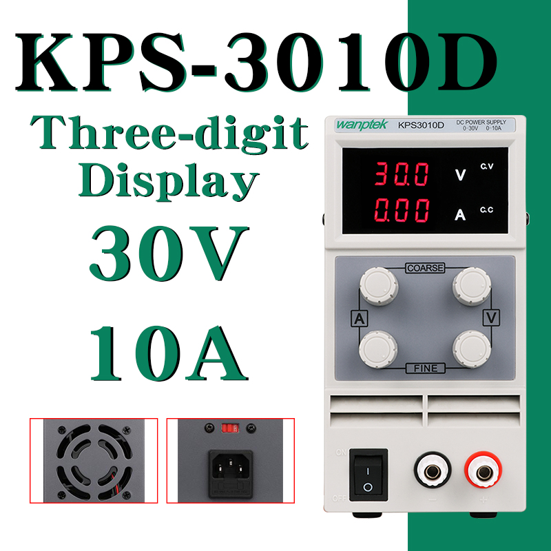 DC Power Supply KPS3010D Variable 30V 10A Adjustable Switching Regulated Power Supply Digital with Alligator Leads lab EquipmentDC Power Supply KPS3010D Variable 30V 10A Adjustable Switching Regulated Power Supply Digital with Alligator Leads lab Equipment