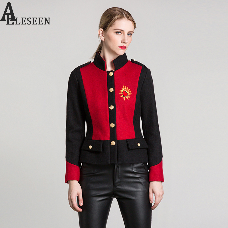 Luxury Heart Embroidery Jacket 2018 Autumn Long Sleeve Fashion Red Black Contrast Partchwork Gold Button Letter