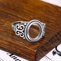 Sterling Silver 925 Semi Mount Engagement Ring Oval Cabochon 10x12mm Art Nouveau Gemstone Fine Jewelry Setting