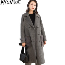 AYUNSUE Korean Style Women Wool Coat Long Autumn Winter Jackets Natural Mink Fur Pockets Plaid Woolens Overcoat 38026 WYQ1772(China)