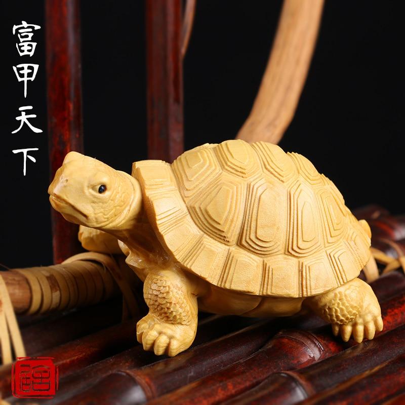 Animal tortue sculpture sur bois main sculpture artisanat de chinois vrai bois ornements tortue Arts riches