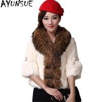 AYUNSUE 2019 Genuine Rabbit Fur Coat Women Full Pelt Rabbit Fur Jacket Female Large Real Raccoon Fur Collar Winter Outwear YQ826