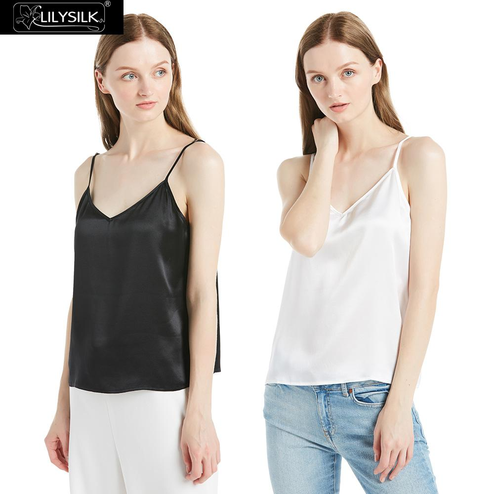 LilySilk Camisole Tops 2 Pack Women Silk 22 momme V Neck Ladies Summer Crop Tank Free
