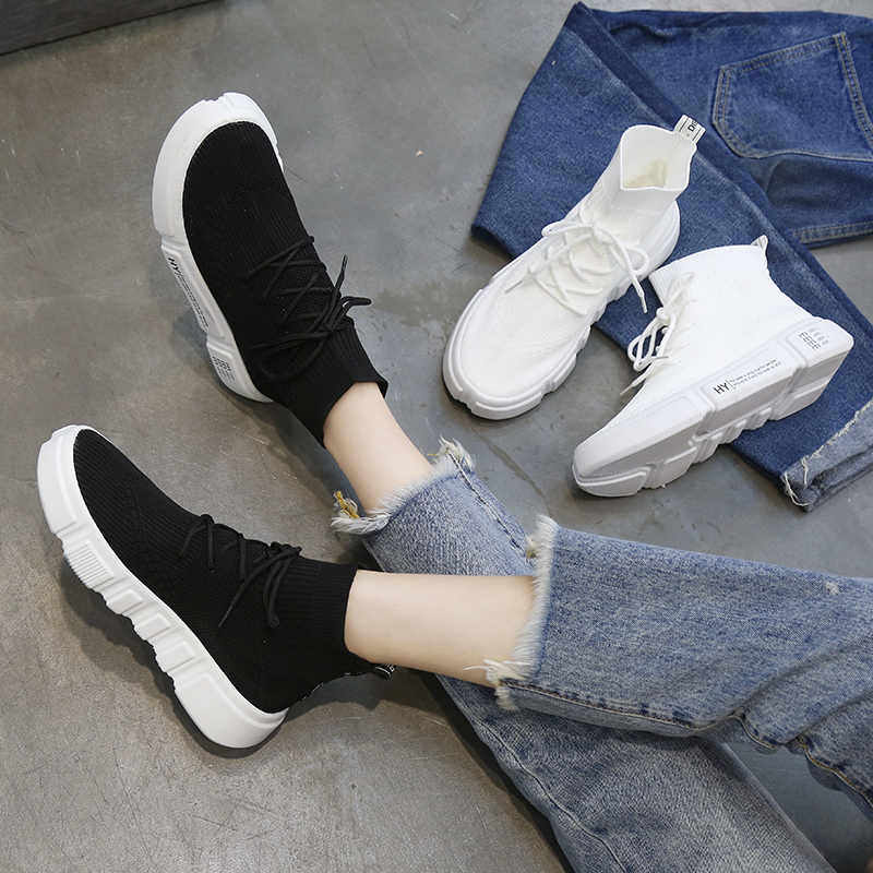 6fde9a2fe ... Autumn Hot High-top Black Socks Shoes Platform Sneakers Women White Jogging  Athletic Shoes Outdoor ...