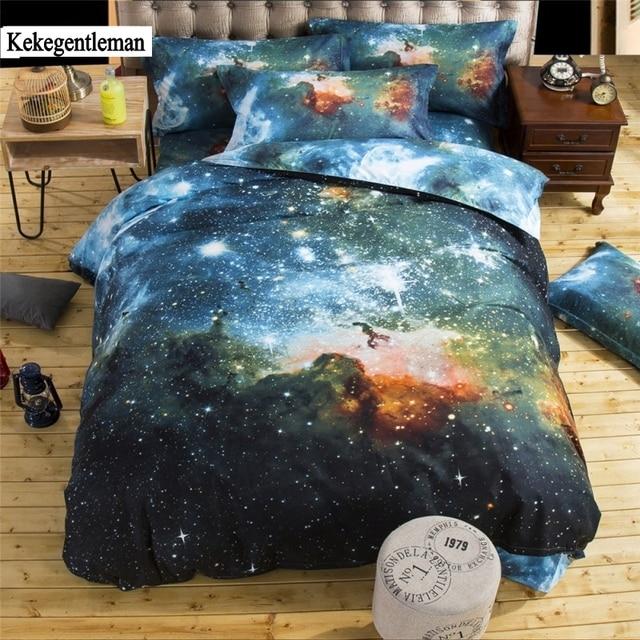 Kekegentleman 4/3pcs Galaxy 3D Bedding Sets Universe Outer Space Duvet cover Bed Sheet / Fitted Bed Sheet pillowcase
