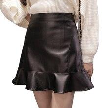 Alta cintura delgada Ruffles pu mini falda moda falda sirena negro más  tamaño 2018 primavera nuevas llegadas 8f08ae25c45a