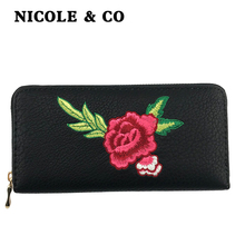 NICOLE & CO2019Fashion Women long Wallets PU Leather Card Holder Money Purse  Female Zipper Hand Phone Bag new