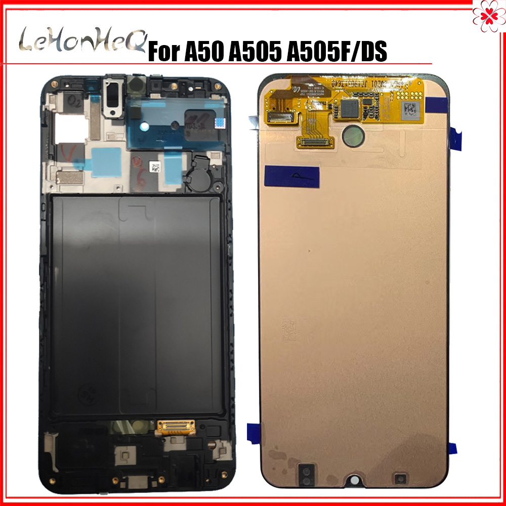 100% New Original LCD For Samsung Galaxy A50 A505 SM-A505F/DS LCD Display Touch Screen Digitizer Assembly With Frame image