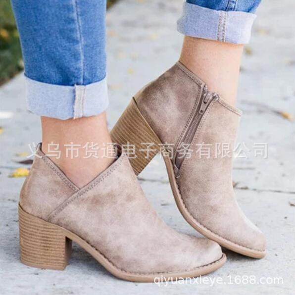 2018 Spring Autumn Women Butterfly-knot Chelsea Boots Slip-On Med High Heels Pointed Toe ...
