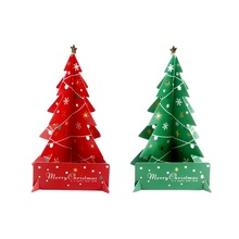 christmas festive party supplies paper material small red green christmas tree decorationschina
