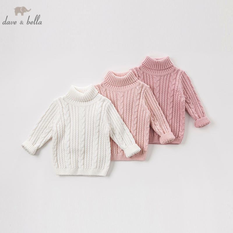 DBA7882 dave bella autumn knitted sweater baby girls long sleeve pullover toddler tops children turtleneck knitted sweater turtleneck long high low sweater