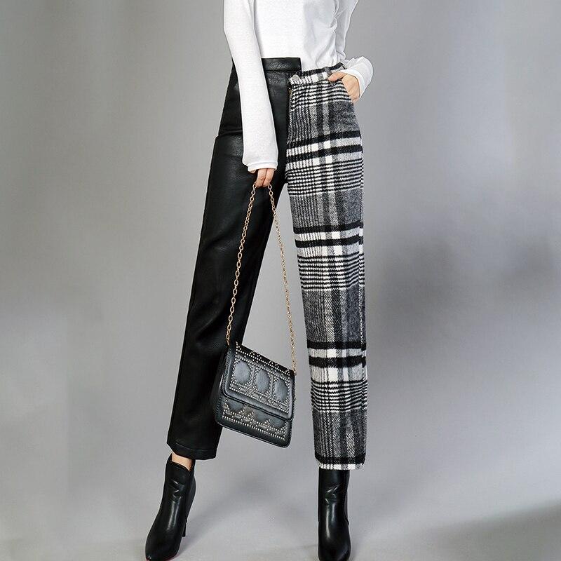Kadın Giyim'ten Pantalonlar ve Kapriler'de MIAOQING PU Deri Pantolon Kadınlar Için Yüksek Bel Hit Renkler Asimetrik Patchwork Ayak Bileği Uzunluğu Yün Pantolon Kadın 2019 Bahar'da  Grup 3
