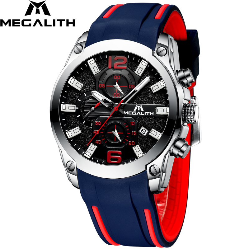 MEGALITH Men Watches Sports Waterproof Chronograph Analog Quartz Luminous Hands Silicone Strap Relogio Masculino
